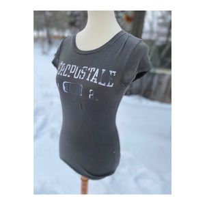 Y2K Aeropostale Women's Fitted t-Shirt Cotton Grey